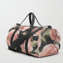 Classic Pink Roses On Black Duffle Bag