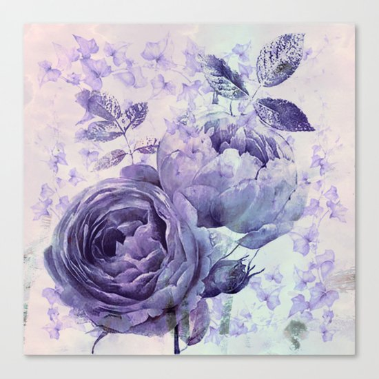 roses and ivy in purple Canvas Print