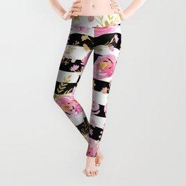 Delicate Poppy Pattern On Stripes 2 Leggings