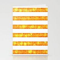 duvet cover Stationery Cards featuring Golden Glitter Stripes Duvet Cover by Corbin Henry