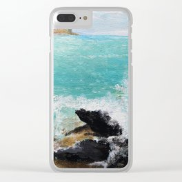 Rocky Blue Sea Clear iPhone Case