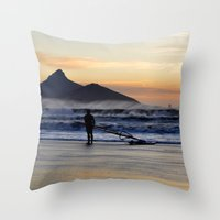 south africa Throw Pillows featuring Sunset Beach - South Africa by The 3rd Eye
