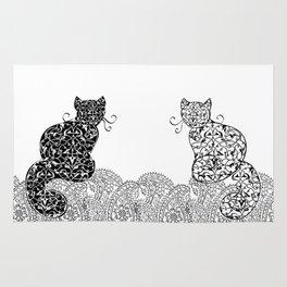 Black Cat White Cat Rug