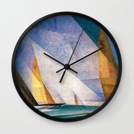 Sailboats by Lyonel Feininger Wall Clock