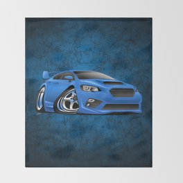 Import Sports Sedan Cartoon Illustration Throw Blanket