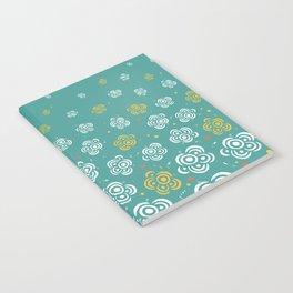 Raining Flowers - Turquoise Notebook