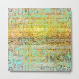 345 11 Gold and Aqua Wood Grain Scrollwork Metal Print