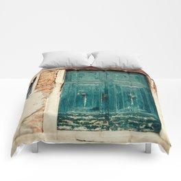 Turquoise Door in Venice Comforters