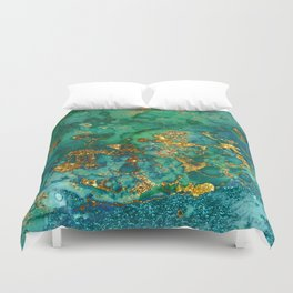 Malachite and Gold Glitter Stone Ink Abstract Gem Glamour Marble Duvet Cover