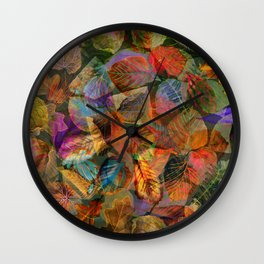 Painted Autumn Leaves Wall Clock
