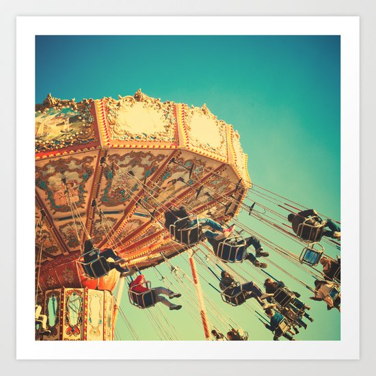 Vintage Chain Swing Ride on Blue Sky  Art Print