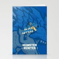 monster hunter Stationery Cards featuring Monster Hunter All Stars - Blue Rippers by Bleached ink
