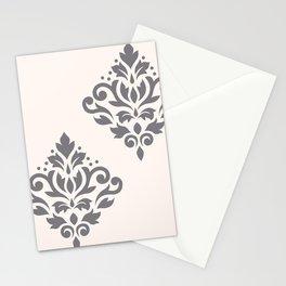 Scroll Damask Art I Grey on Cream Stationery Cards