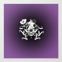 The Skull the Flowers and the Snail Canvas Print