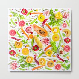 Fruits and vegetables pattern (31) Metal Print