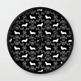 Corgi silhouette florals dog pattern black and white minimal corgis welsh corgi pattern Wall Clock