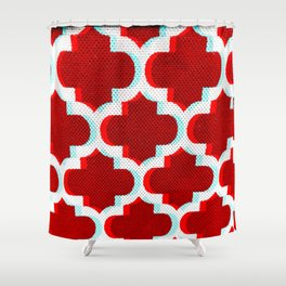 3 D Red Club Pattern Shower Curtain