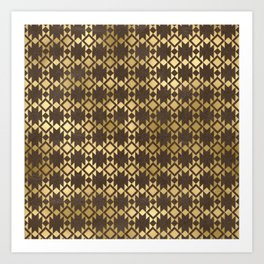 Brown and Gold Aztec Diamond Art Print