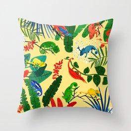 Nine Chameleons Hiding in the Tropics Throw Pillow