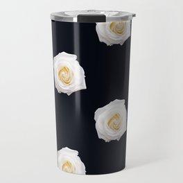 White Flower Pattern Travel Mug