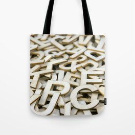 Pile of Mixed Wooden Letters Close Up Tote Bag