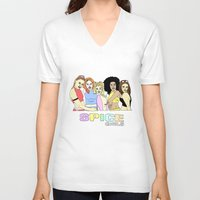 spice girls V-neck T-shirts featuring spice girls by MeganBell