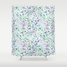 Marbled in blues Shower Curtain
