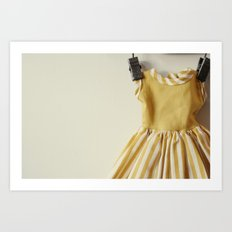Doll Closet Series - Mustard Stripe Dress Art Print