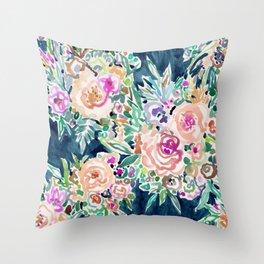 SO RICH Dark Boho Floral Throw Pillow
