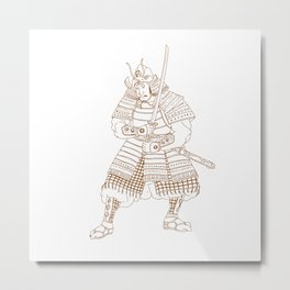 Bushi Samurai Warrior Drawing Metal Print