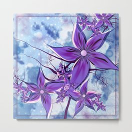 Painted Flowers Fractal Metal Print