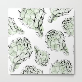 Artichoke backdrop. Seamless pattern artichoke sketch. Hand-drawn artichokes without background. Metal Print