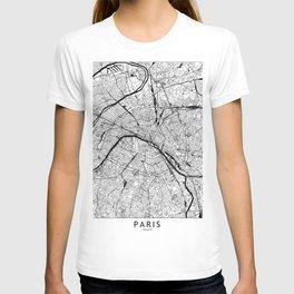 Paris Black and White Map T-shirt