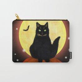 Halloween Black Cat on Pumpkin Carry-All Pouch