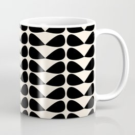 Mod Leaves Mid Century Modern Abstract Pattern in Black and Almond Cream Coffee Mug
