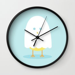Halloween chick in ghost costume Wall Clock