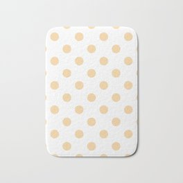 Polka Dots - Sunset Orange on White Bath Mat