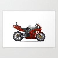 honda Art Prints featuring Honda Fireblade by Ian Galvin