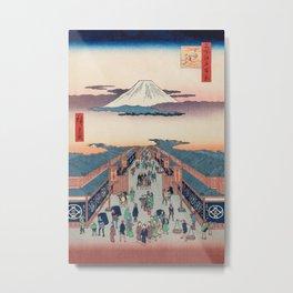Mount Fuji above Ancient Street Ukiyo-e Japanese Art Metal Print