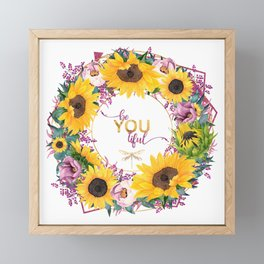 beYOUtiful floral wreath Framed Mini Art Print