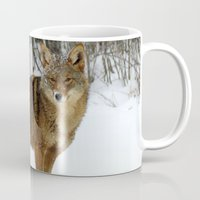 coyote Mugs featuring Coyote by tracy-Me