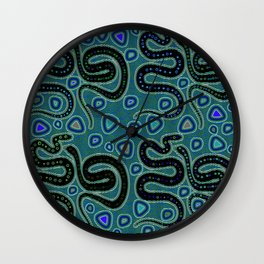 Snake Totem Seamless Blue Tapas Design Wall Clock