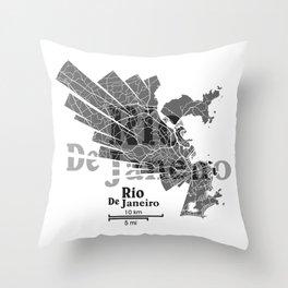 Rio De Janeiro Map Throw Pillow