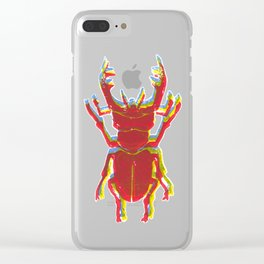 Stag Beetle Tricolore lino cut Clear iPhone Case
