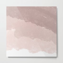 Modern white rose gold color block ombre pattern Metal Print