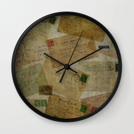 Old Postcards Square Wall Clock