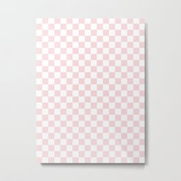 Small Checkered - White and Light Pink Metal Print
