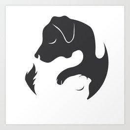 Yin Yang Dog Cat Couple Matching Cartoon Shirt Men Womens Art Print
