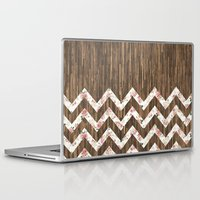 preppy Laptop & iPad Skins featuring Vintage Preppy Floral Chevron Pattern Brown Wood by Girly Road