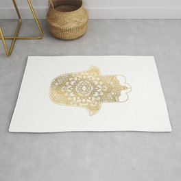 golden hamsa and mandala on classic blue Rug